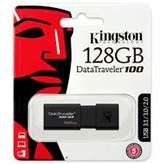 USB ključ Kingston 128GB DT100G3, 3.0, črn, standard velikost (DT100G3/128GB)