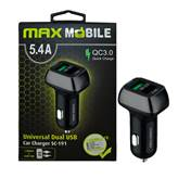 Auto polnilec MAXMOBILE, USB DUO  SC-191 QC 3.0 Quick Charge 5.4A, črno-siva