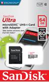 Spominska kartica SANDISK, Micro SDXC Ultra Android, 64GB, SDSQUNS-064G-GN3MA, class 10 UHS-I + adapter