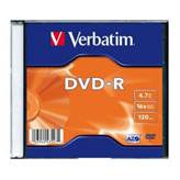 Medij DVD-R VERBATIM 16x, 4.7GB, Matt Silver, Single pack Slimcase, kos