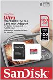 Spominska kartica SANDISK, micro SDXC Ultra Android, 128 GB, SDSQUAR-128G-GN6IA, 100MB/s + SD Adapter