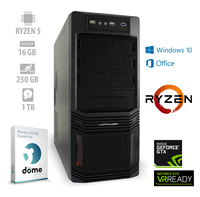 Računalnik ALFA PF7 / AMD Ryzen 5 3600 (3.6/4.2 GHz), 16GB, 250GB SSD + 1TB HDD, GeForce GTX 1660, DVD-RW, Windows 10, Office 365, Panda Dome Essential