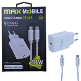 Hišni polnilnik MAXMOBILE SET 2u1, USB-C + KABEL, Lightning MFI Apple TR207