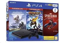 Igralna konzola SONY Playstation 4, 500GB + Igre Spiderman/Horizon ZD Complete Edition/Ratchet & Clank