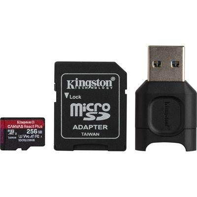 Spominska kartica KINGSTON  Micro SDXC Canvas React Plus, 256GB, Class 10 UHS-II, USB + Adapter