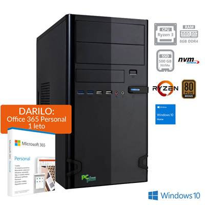 Računalnik PC PLUS i-net / R3-4350G (3,8/4,0GHz), 8GB, 500GB SSD NVMe, Win 10 + Office 365 Personal