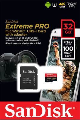 Spominska kartica SANDISK, Micro SD Extreme, 32GB, SDSQXCG-032G-GN6MA, class 10 UHS-I + SD Adapter + Memory Zone Android App