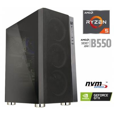 Računalnik MEGA 6000Y / R5-3600 (3,6/4,2GHz), 8GB, 250GB SSD NVMe + 1TB HDD, GeForce GTX 1650 4GB, FreeDOS, črn