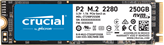 SSD disk 250 GB CRUCIAL P2, CT250P2SSD8, M.2 NVMe, 2100/1150 MB/s