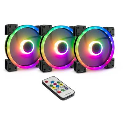 Ventilator INTER-TECH Argus RS-14, 3x (set), RGB, 140mm, LED, beli