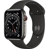 Pametna ura Apple Watch S6 GPS, 44mm Space Gray Aluminium Case with Black Sport Band, črna
